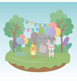 birthday card with little animals in field vector image vector image
