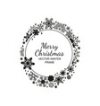black and white circle snowflake frame christmas vector image vector image