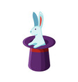 bunny in magician hat flat vector image
