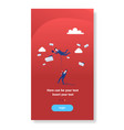 businessman hold colleague flying in sky using vector image vector image