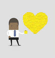 businessman with heart shape yellow sticky notes vector image