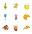 Calorie food icons set cartoon style vector image