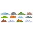 cartoon mountains snowy mountain peak hill vector image vector image