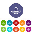 chancery icons set color vector image