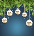 Christmas Background with Fir Twigs and Glass vector image vector image