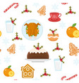 christmas seamless pattern with holiday food xmas vector image