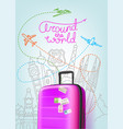 color plastic travel bag with different world vector image vector image