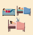 colorful set scene people sleep in bed and sofa vector image vector image