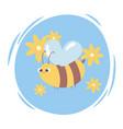 cute cartoon animal flying bee with flowers wild