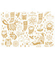 cute cartoon animals set gold art collection for vector image
