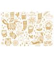 cute cartoon animals set gold art collection vector image