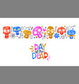 day dead card cute watercolor skull cartoon vector image vector image
