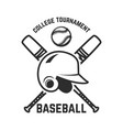 emblem with crossed baseball bat and baseball vector image vector image