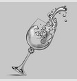 falling glass with splashed white wine vector image