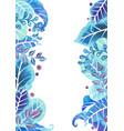 fantasy blue leaves garden watercolor border vector image