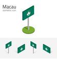 flag of macau set of 3d isometric flat icons vector image