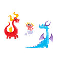 flat cartoon dragons with horns wings set vector image vector image