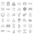 guardian icons set outline style vector image vector image