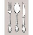 Hand drawn vintage silver cutlery vector image