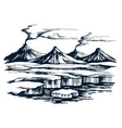 iceland volcanic group on island vector image