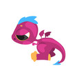 little purple dragon with sad face expression vector image