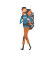 male tourist walking with backpack man going on vector image vector image