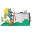 man with text book and pencil in landscape vector image vector image