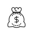 money bag bank investment business cash line vector image vector image