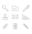 monochrome set with office stationery icons vector image