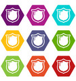 museum shield icons set 9 vector image vector image