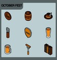 octoberfest color outline isometric icons vector image vector image