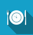 plate with clock fork and knife icon isolated vector image vector image