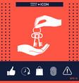 receiving the bunch of keys - icon vector image vector image