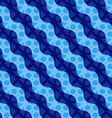 Retro 3D blue waves and circles vector image