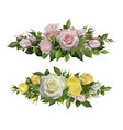 rose flowers realistic borders flower decorative vector image vector image