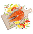 salmon fish steak on cutting board vector image vector image