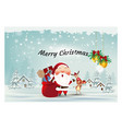 santa clausreindeerwith gift box ornament merry vector image