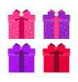 set of colorful gift boxes with bows romantic vector image vector image