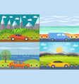 set of four of car on the road vector image
