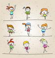set of hand drawing cartoon happy kids running vector image vector image