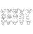 set polygonal animal portraits collection of vector image vector image