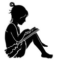 silhouette cute little girl reading book vector image