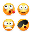 smileysmiling emoticon yellow face with emotions vector image vector image