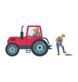 tractor cultivation of land vector image