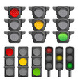 traffic lights icon set cartoon style vector image