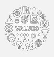 values round concept outline vector image