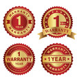 warranty label 1 year vector image vector image