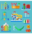 Water amusement aquapark playground with slides vector image