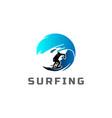 wave surf surfer surfing sport club logo design vector image