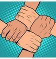 White black solidarity handshake stop racism pop vector image vector image